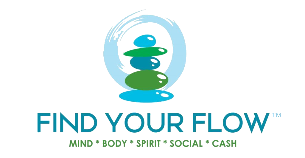 Find Your Flow logo featuring stacked stones and a painted perfect circle in the background. The Five Lakes Of Water listed below are: Mind, Body, Spirit, Social and Cash Flow!